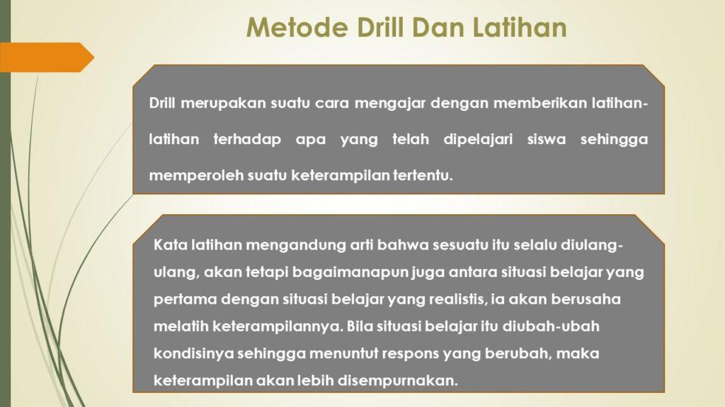 Metode Pembelajaran Metode Pembelajaran Latihan (Drill)